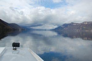 Image avec brouillard sur le lac du Bourget